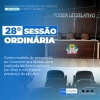 Confira a pauta da 28° Sessão Ordinária