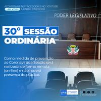 Confira a pauta da 30° Sessão Ordinária