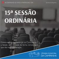 Confira as proposições da 15° Sessão Ordinária de 2021