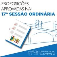 Confira as proposições aprovadas na 17° Sessão Ordinária de 2021, realizada no dia 25 de maio