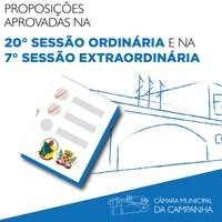 Confira as proposições aprovadas na 20° Sessão Ordinária e na 7° Sessão ordinária de 2021, realizadas nos dias 15 e 16 de junho, respectivamente.