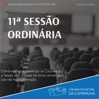 Confira as proposições da 11° Sessão Ordinária