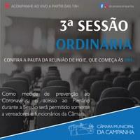 Confira as proposições da 3° Sessão Ordinária de 2021