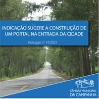 Indicação solicita a construção de um Portal na entrada da cidade