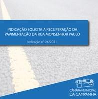 Indicação solicita a recuperação da pavimentação na Rua Monsenhor Paulo