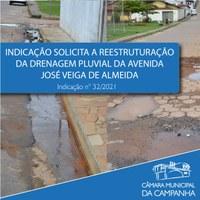 Indicação solicita a reestruturação da drenagem pluvial da Avenida José Veiga de Almeida