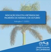 Indicação solicita a retirada das palmeiras da Avenida 2 de Outubro