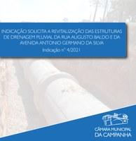 Indicação solicita a revitalização das estruturas de drenagem pluvial da Rua Augusto Baldo e da Avenida Antônio Germano da Silva