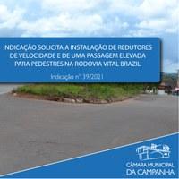 Indicação solicita ações para promover maior segurança na Rodovia Vital Brazil