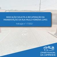 Indicação solicita ao Executivo recuperar a pavimentação da Rua Paulo Ferreira Lopes