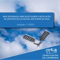 Indicação sugere a instalação de um poste de iluminação na Rua José Xavier da Silva