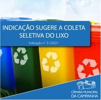Indicação solicita a implementação da coleta seletiva do lixo no Município