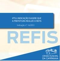 IPTU: REFIS é sugerido em Indicação