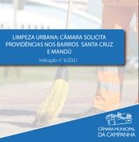 Limpeza urbana: Câmara solicita providências nos Bairros Santa Cruz e Mandú