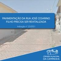 Pavimentação da Rua José Cesarino Filho precisa ser revitalizada