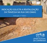 Pavimentação de travessa na Rua São Dimas é solicitada em Indicação