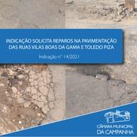 Reparos no calçamento das ruas Toledo Pizza e Vilas Boas da Gama são solicitados em Indicação