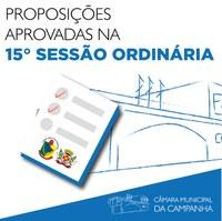 Saiba o que foi aprovado na 15° Sessão Ordinária de 2021, realizada no dia 11 de maio. Confira: