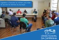 Vereadores se reúnem com o Executivo para tratar de assuntos de interesse da população